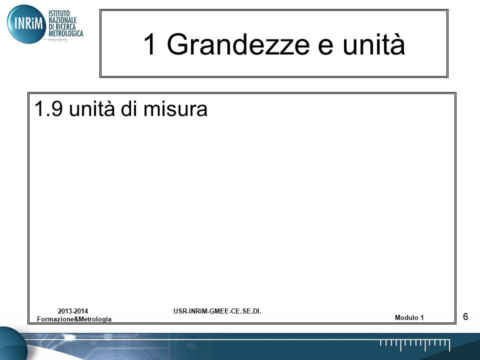 USR-INRiM-GMEE-CE.SE.DI.2013-2014 Formazione&Metrologia Modulo 1 6 1 Grandezze e unità 1.9 unità di misura