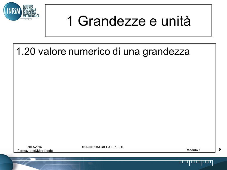 USR-INRiM-GMEE-CE.SE.DI.2013-2014 Formazione&Metrologia Modulo 1 8 1 Grandezze e unità 1.20 valore numerico di una grandezza