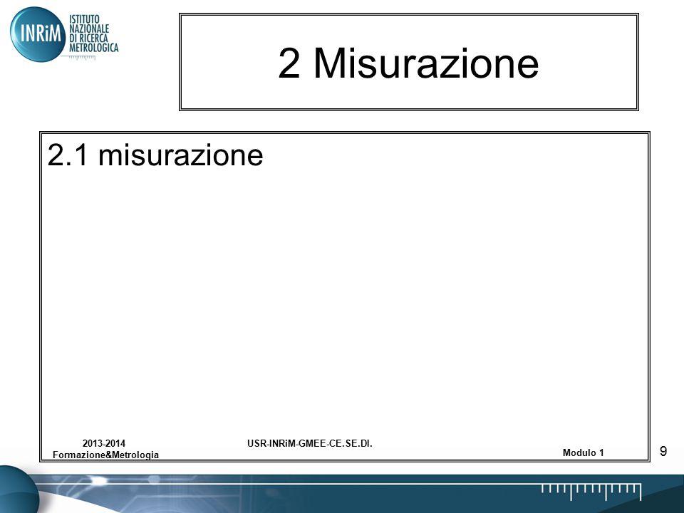 USR-INRiM-GMEE-CE.SE.DI.2013-2014 Formazione&Metrologia Modulo 1 9 2 Misurazione 2.1 misurazione