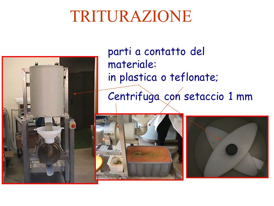 TRITURAZIONE parti a contatto del materiale: in plastica o teflonate; Centrifuga con setaccio 1 mm