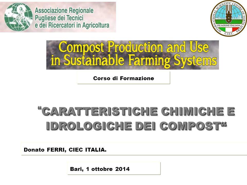 """"""" CARATTERISTICHE CHIMICHE E IDROLOGICHE DEI COMPOST"""" Donato FERRI, CIEC ITALIA. Bari, 1 ottobre 2014 Corso di Formazione"""