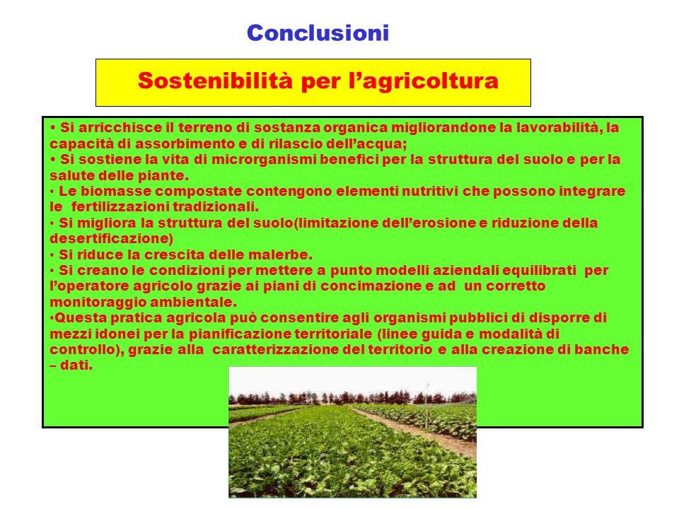 Conclusioni Sostenibilità per l'agricoltura Si arricchisce il terreno di sostanza organica migliorandone la lavorabilità, la capacità di assorbimento