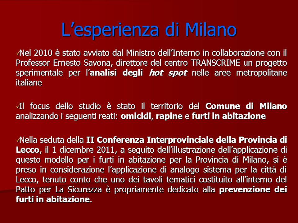 L'esperienza di Milano Nel 2010 è stato avviato dal Ministro dell'Interno in collaborazione con il Professor Ernesto Savona, direttore del centro TRAN