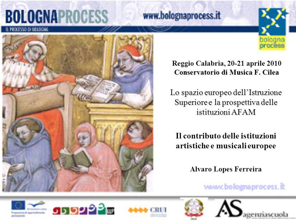 Lo spazio europeo dell'Istruzione Superiore e la prospettiva delle istituzioni AFAM Il contributo delle istituzioni artistiche e musicali europee Alvaro Lopes Ferreira Conservatorio di Musica F.