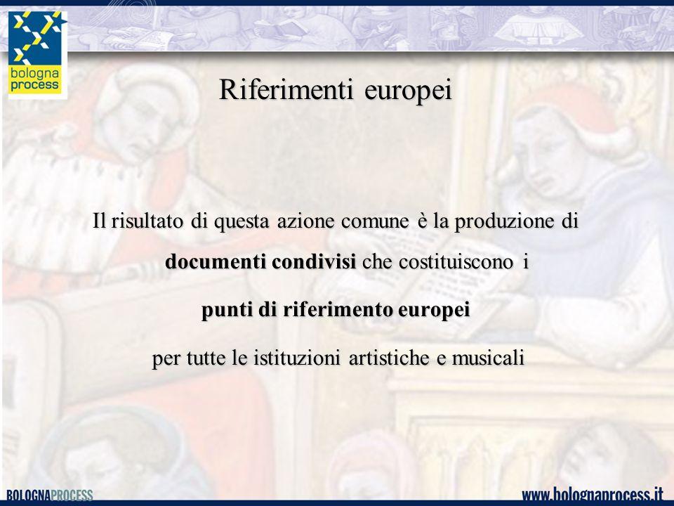 Riferimenti europei Il risultato di questa azione comune è la produzione di documenti condivisi che costituiscono i punti di riferimento europei per tutte le istituzioni artistiche e musicali per tutte le istituzioni artistiche e musicali