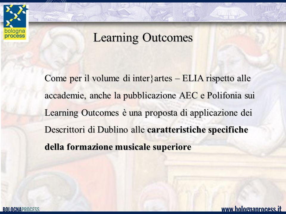 Learning Outcomes Come per il volume di inter}artes – ELIA rispetto alle accademie, anche la pubblicazione AEC e Polifonia sui Learning Outcomes è una proposta di applicazione dei Descrittori di Dublino alle caratteristiche specifiche della formazione musicale superiore
