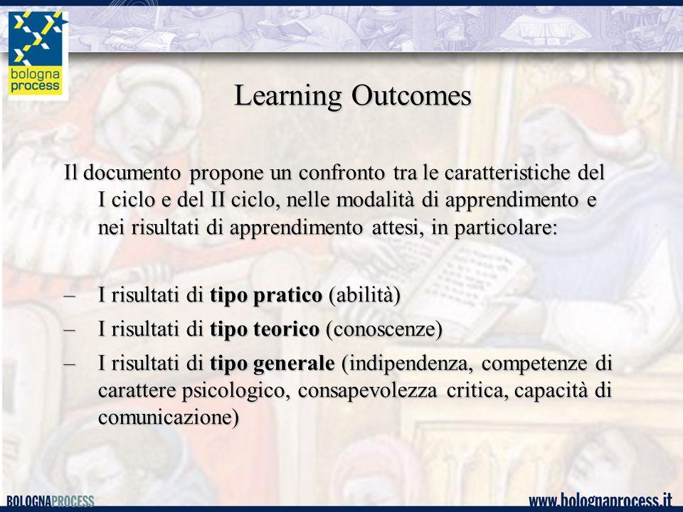 Learning Outcomes Il documento propone un confronto tra le caratteristiche del I ciclo e del II ciclo, nelle modalità di apprendimento e nei risultati di apprendimento attesi, in particolare: –I risultati di tipo pratico (abilità) –I risultati di tipo teorico (conoscenze) –I risultati di tipo generale (indipendenza, competenze di carattere psicologico, consapevolezza critica, capacità di comunicazione)