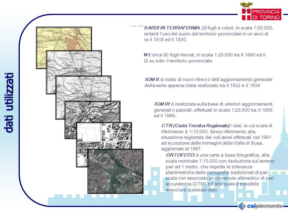 STATI SARDI IN TERRAFERMA 28 fogli a colori, in scala 1:50.000, rappresentanti l'uso del suolo del territorio provinciale in un arco di tempo tra il 1