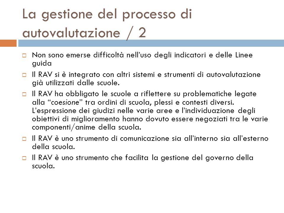 La gestione del processo di autovalutazione / 2  Non sono emerse difficoltà nell'uso degli indicatori e delle Linee guida  Il RAV si è integrato con altri sistemi e strumenti di autovalutazione già utilizzati dalle scuole.