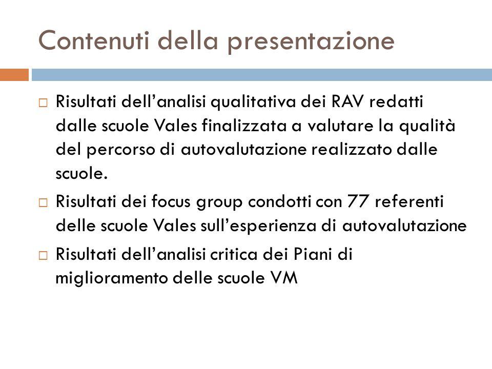 Contenuti della presentazione  Risultati dell'analisi qualitativa dei RAV redatti dalle scuole Vales finalizzata a valutare la qualità del percorso di autovalutazione realizzato dalle scuole.