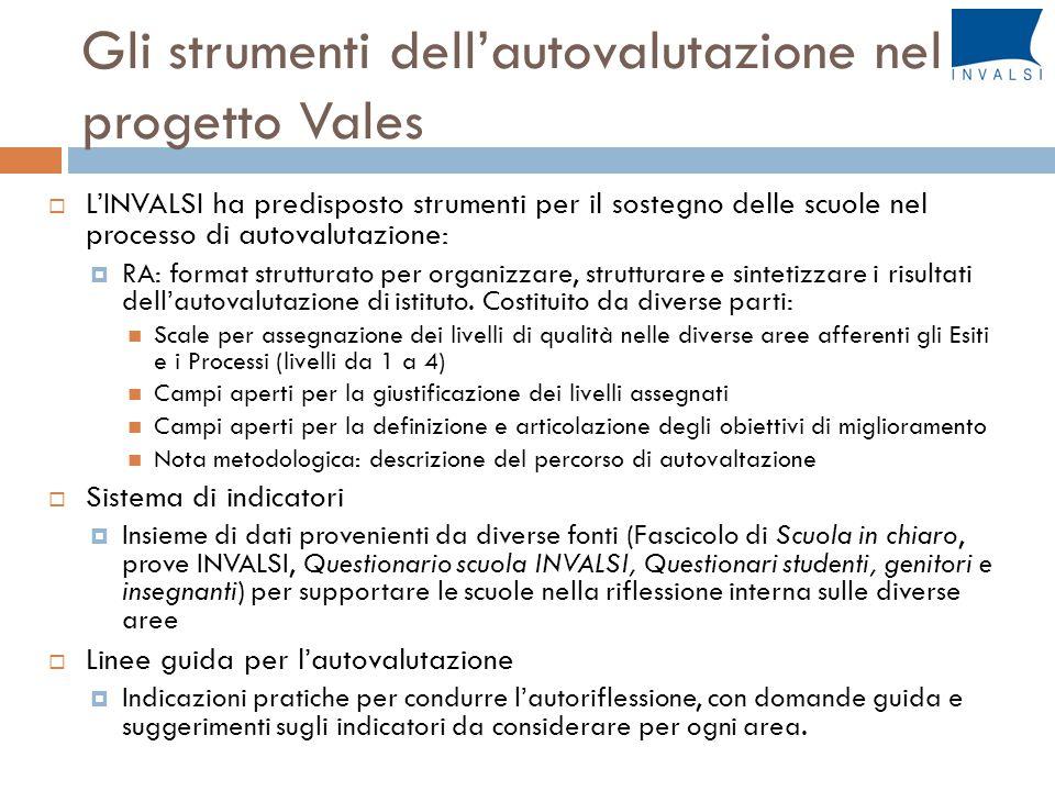 Gli strumenti dell'autovalutazione nel progetto Vales  L'INVALSI ha predisposto strumenti per il sostegno delle scuole nel processo di autovalutazione:  RA: format strutturato per organizzare, strutturare e sintetizzare i risultati dell'autovalutazione di istituto.
