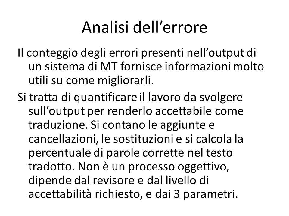 Analisi dell'errore Il conteggio degli errori presenti nell'output di un sistema di MT fornisce informazioni molto utili su come migliorarli.