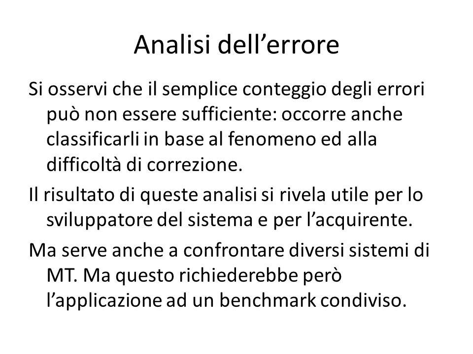Analisi dell'errore Si osservi che il semplice conteggio degli errori può non essere sufficiente: occorre anche classificarli in base al fenomeno ed a