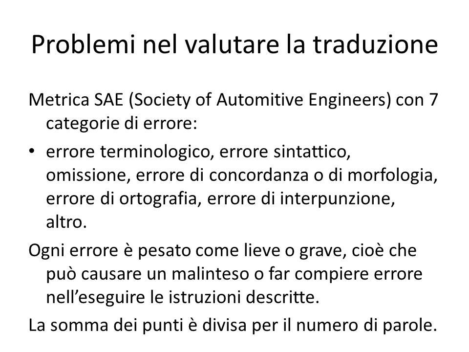 Problemi nel valutare la traduzione Metrica SAE (Society of Automitive Engineers) con 7 categorie di errore: errore terminologico, errore sintattico, omissione, errore di concordanza o di morfologia, errore di ortografia, errore di interpunzione, altro.
