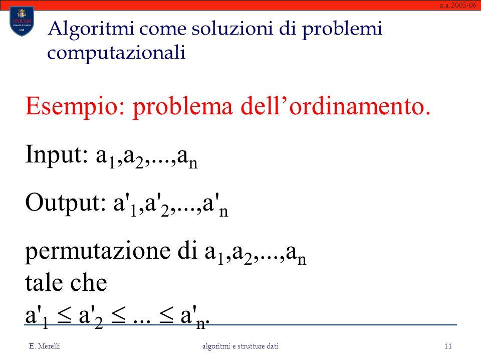 a.a.2005-06 E. Merelli algoritmi e strutture dati 11 Esempio: problema dell'ordinamento. Input: a 1,a 2,...,a n Output: a' 1,a' 2,...,a' n permutazion