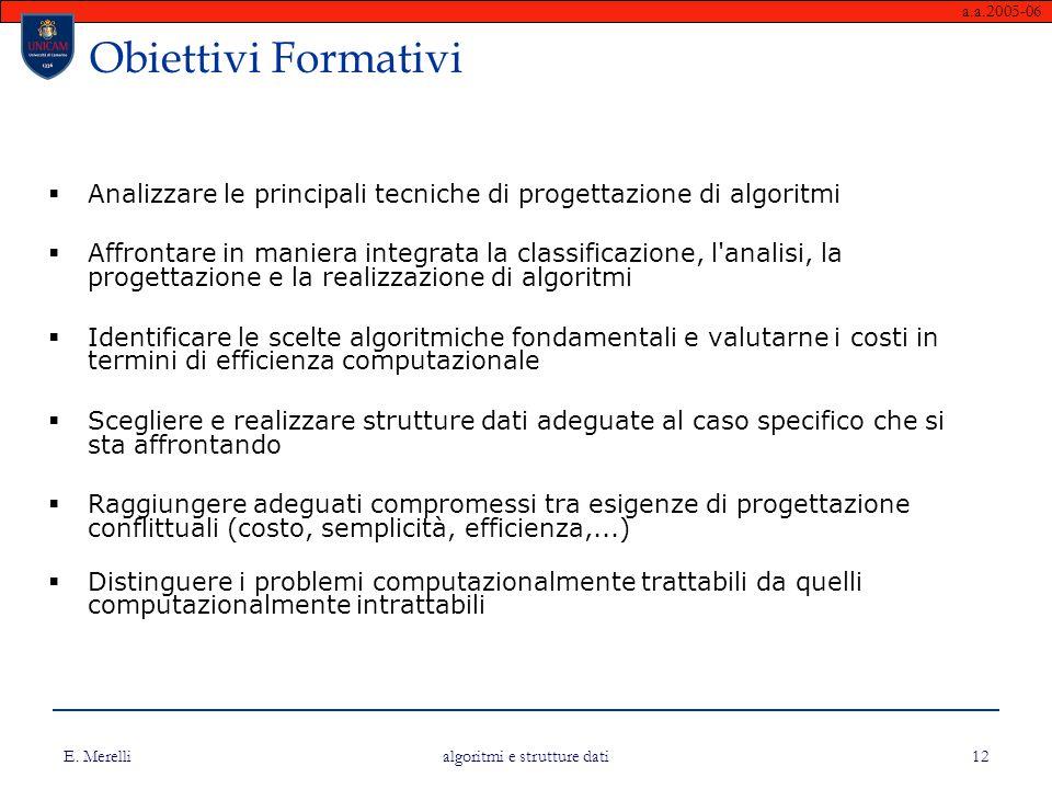 a.a.2005-06 E. Merelli algoritmi e strutture dati 12 Obiettivi Formativi  Analizzare le principali tecniche di progettazione di algoritmi  Affrontar