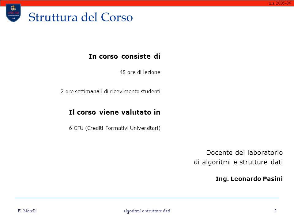 a.a.2005-06 E. Merelli algoritmi e strutture dati 2 Struttura del Corso In corso consiste di 48 ore di lezione 2 ore settimanali di ricevimento studen