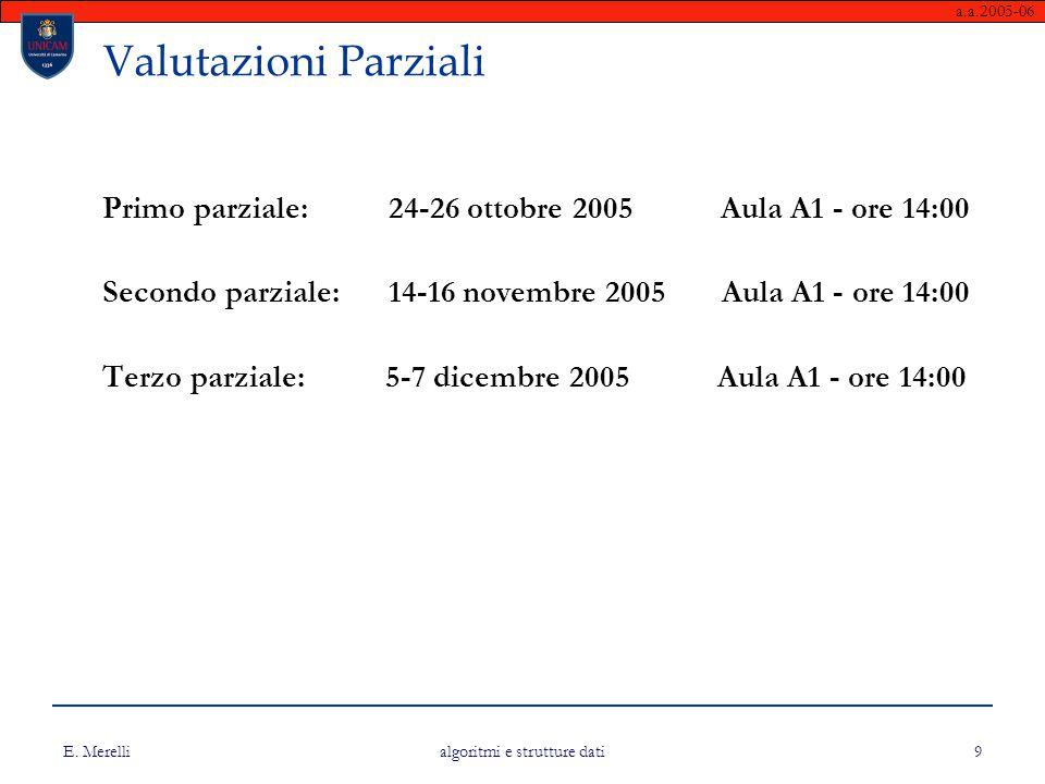 a.a.2005-06 E. Merelli algoritmi e strutture dati 9 Valutazioni Parziali Primo parziale: 24-26 ottobre 2005 Aula A1 - ore 14:00 Secondo parziale: 14-1