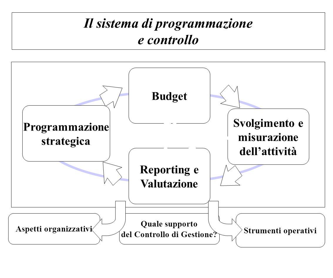 Il sistema di programmazione e controllo Programmazione strategica Budget Svolgimento e misurazione dell'attività Reporting e Valutazione Quale suppor