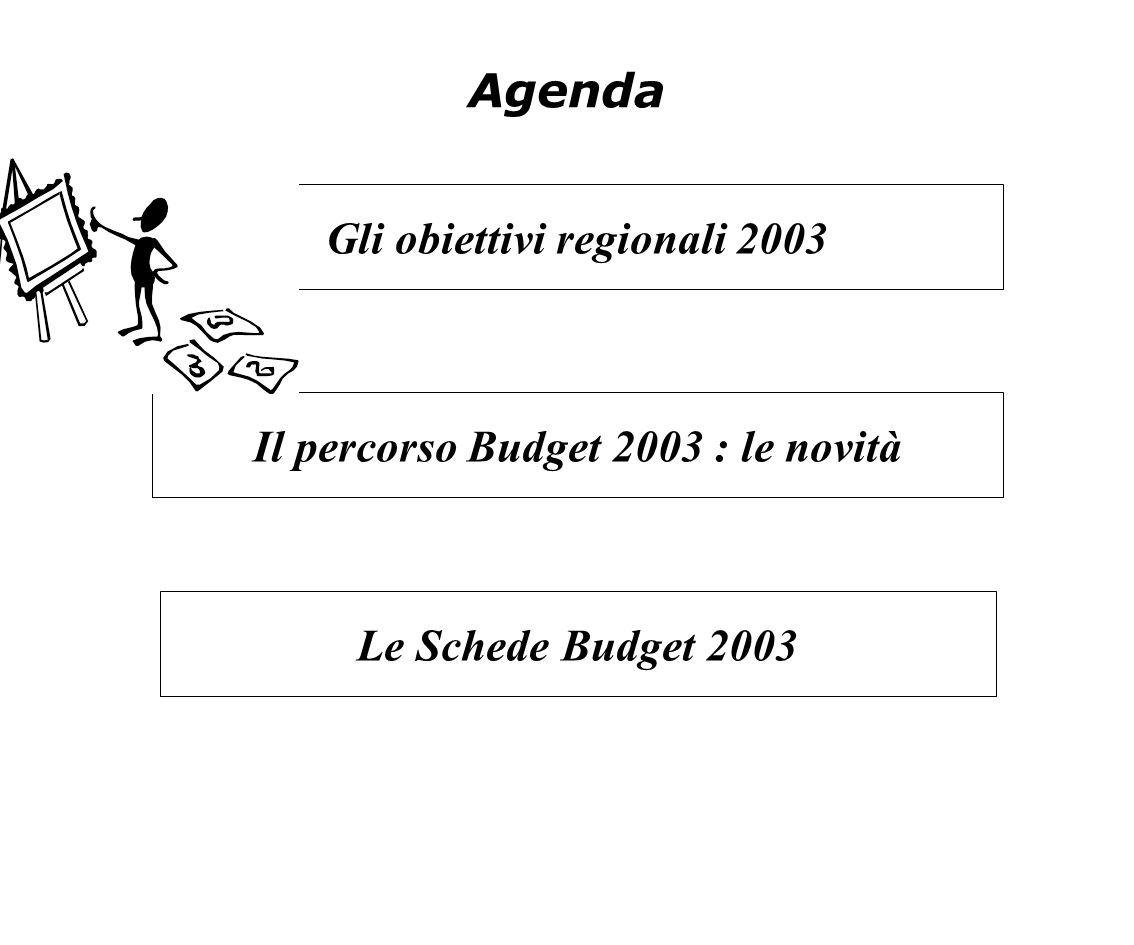 Agenda Il percorso Budget 2003 : le novità Gli obiettivi regionali 2003 Le Schede Budget 2003