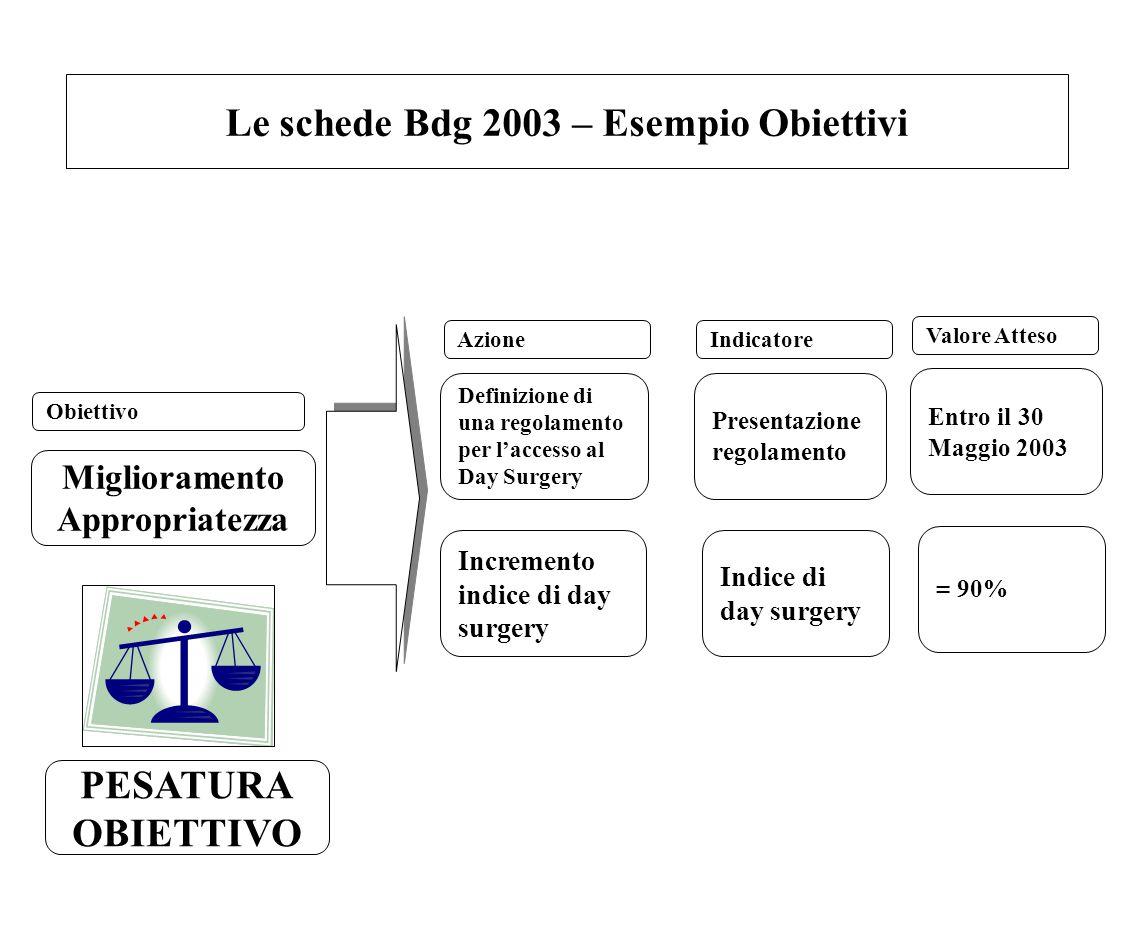 Le schede Bdg 2003 – Esempio Obiettivi Miglioramento Appropriatezza Definizione di una regolamento per l'accesso al Day Surgery Incremento indice di d