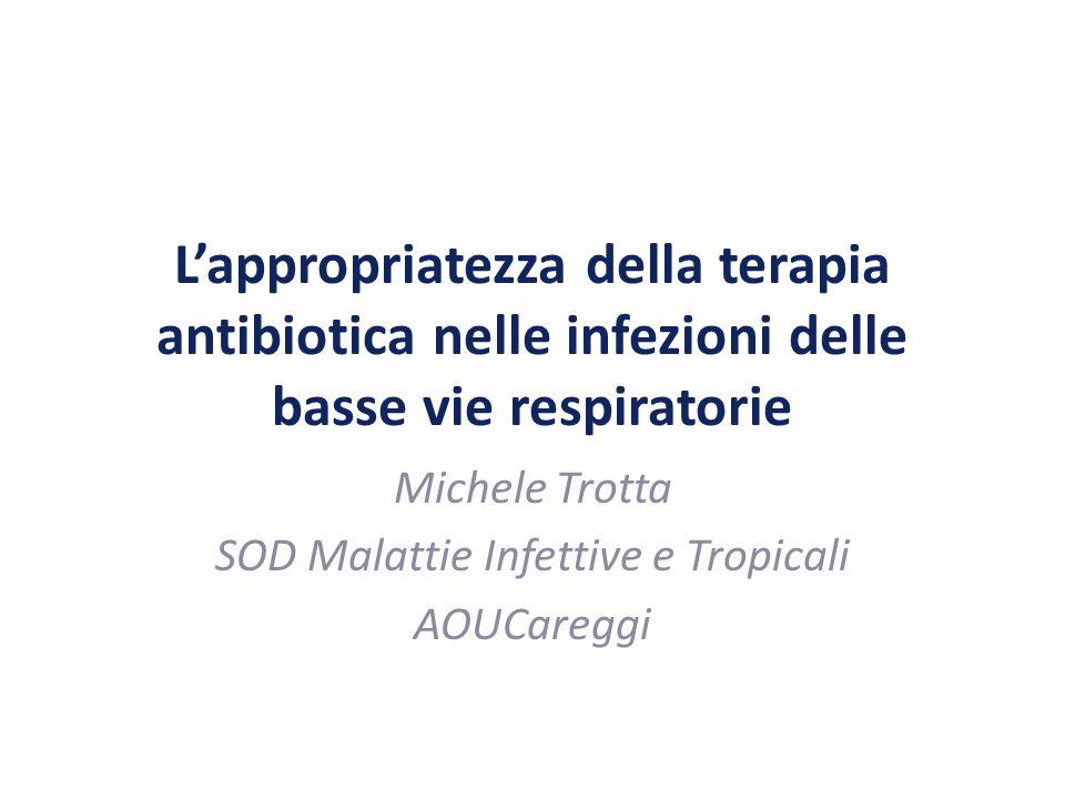 L'appropriatezza della terapia antibiotica nelle infezioni delle basse vie respiratorie Michele Trotta SOD Malattie Infettive e Tropicali AOUCareggi
