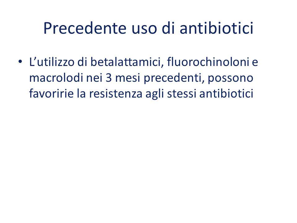 Precedente uso di antibiotici L'utilizzo di betalattamici, fluorochinoloni e macrolodi nei 3 mesi precedenti, possono favoririe la resistenza agli ste