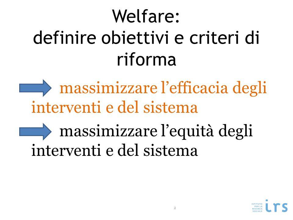 Welfare: definire obiettivi e criteri di riforma massimizzare l'efficacia degli interventi e del sistema massimizzare l'equità degli interventi e del sistema 2