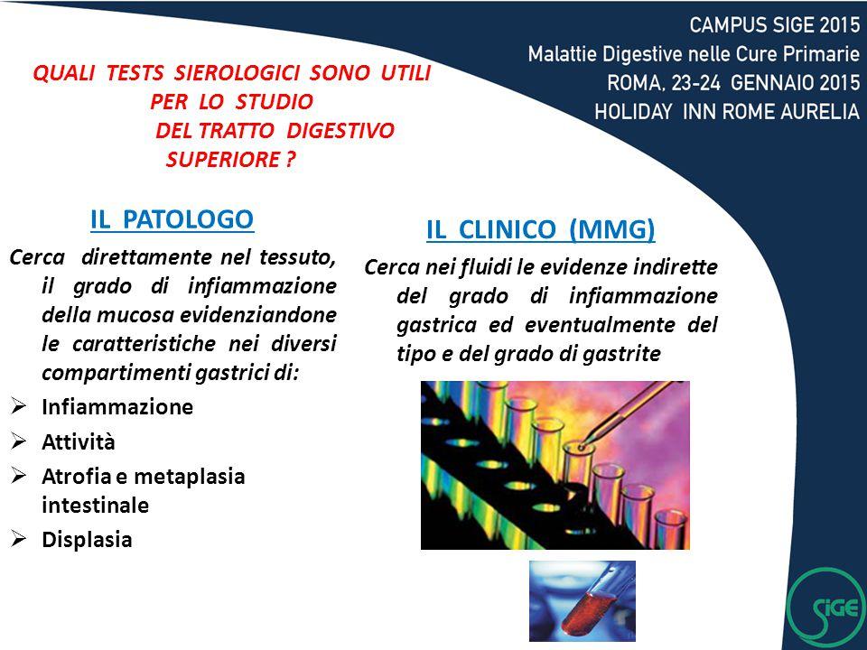 IL PATOLOGO Cerca direttamente nel tessuto, il grado di infiammazione della mucosa evidenziandone le caratteristiche nei diversi compartimenti gastric