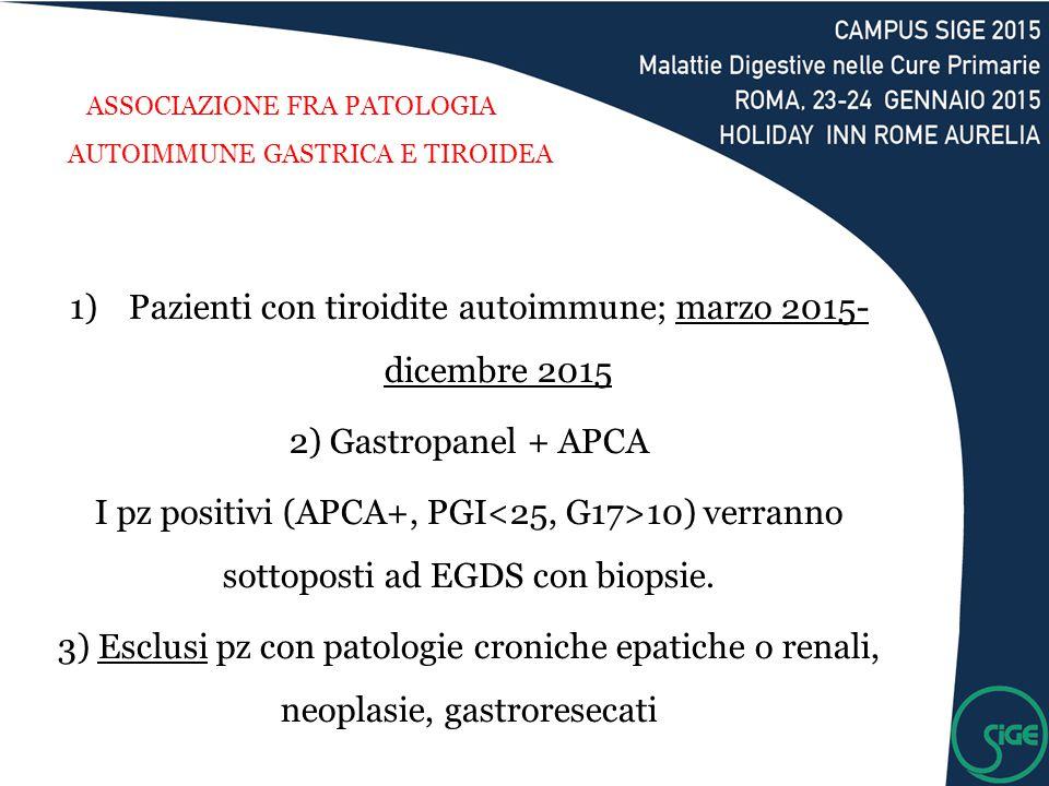 ASSOCIAZIONE FRA PATOLOGIA AUTOIMMUNE GASTRICA E TIROIDEA 1)Pazienti con tiroidite autoimmune; marzo 2015- dicembre 2015 2) Gastropanel + APCA I pz po