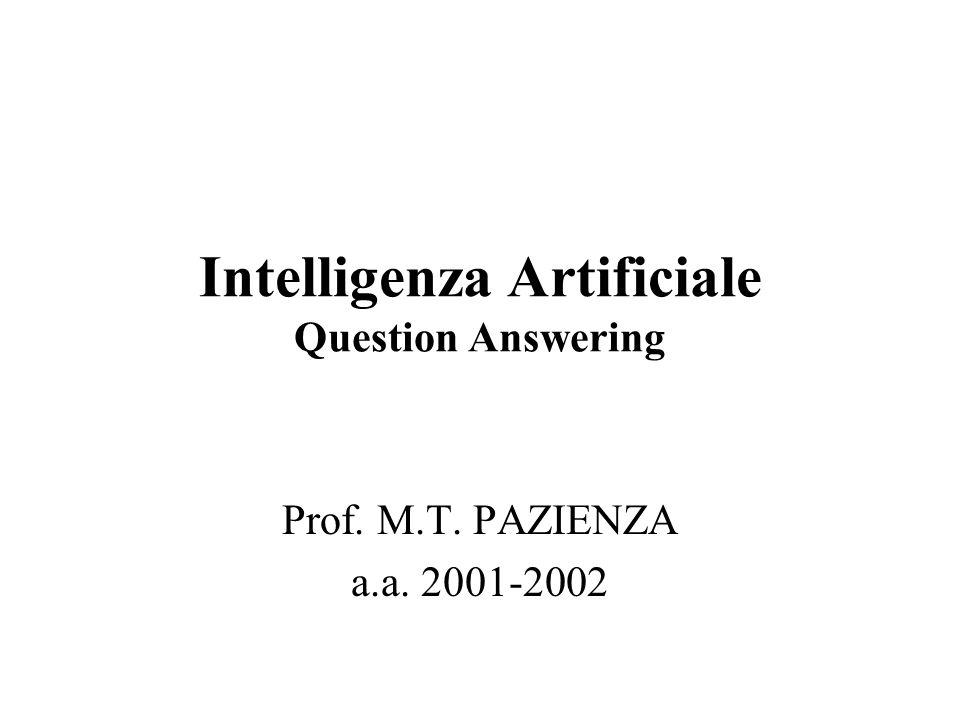 Question Answering Q/A E' il processo di estrazione automatica di risposte per domande poste in linguaggio naturale su una collezione di documenti (precedentemente selezionati o meno) ed utilizzando una base di conoscenza