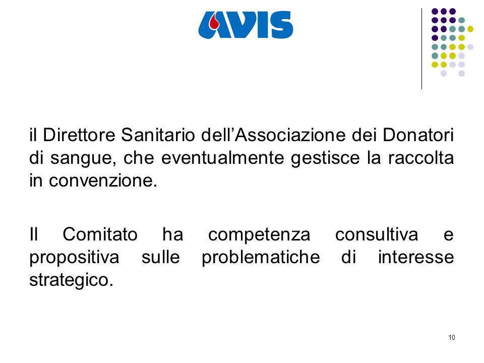10 il Direttore Sanitario dell'Associazione dei Donatori di sangue, che eventualmente gestisce la raccolta in convenzione.