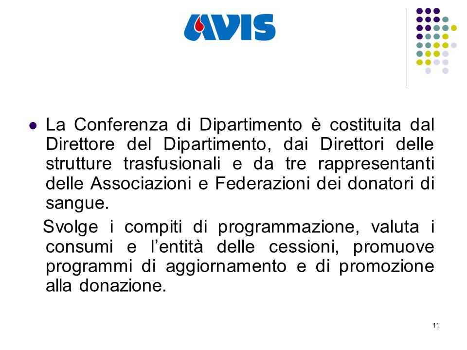 11 La Conferenza di Dipartimento è costituita dal Direttore del Dipartimento, dai Direttori delle strutture trasfusionali e da tre rappresentanti delle Associazioni e Federazioni dei donatori di sangue.