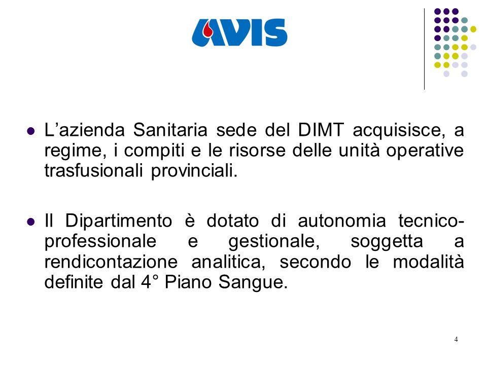 4 L'azienda Sanitaria sede del DIMT acquisisce, a regime, i compiti e le risorse delle unità operative trasfusionali provinciali.