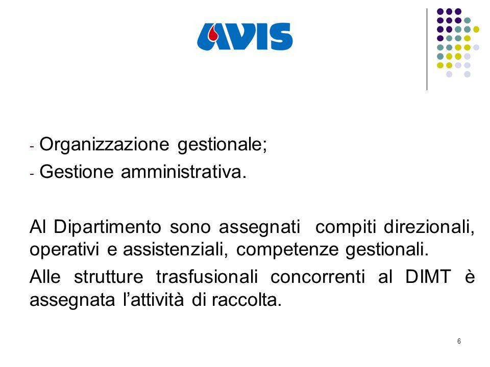 6 - Organizzazione gestionale; - Gestione amministrativa.