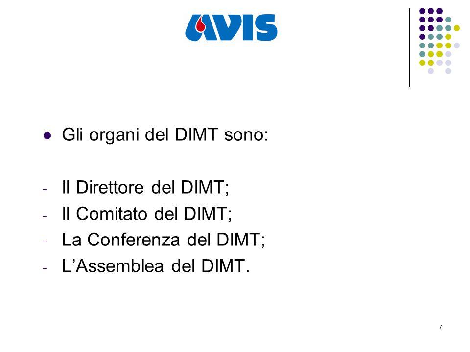 7 Gli organi del DIMT sono: - Il Direttore del DIMT; - Il Comitato del DIMT; - La Conferenza del DIMT; - L'Assemblea del DIMT.