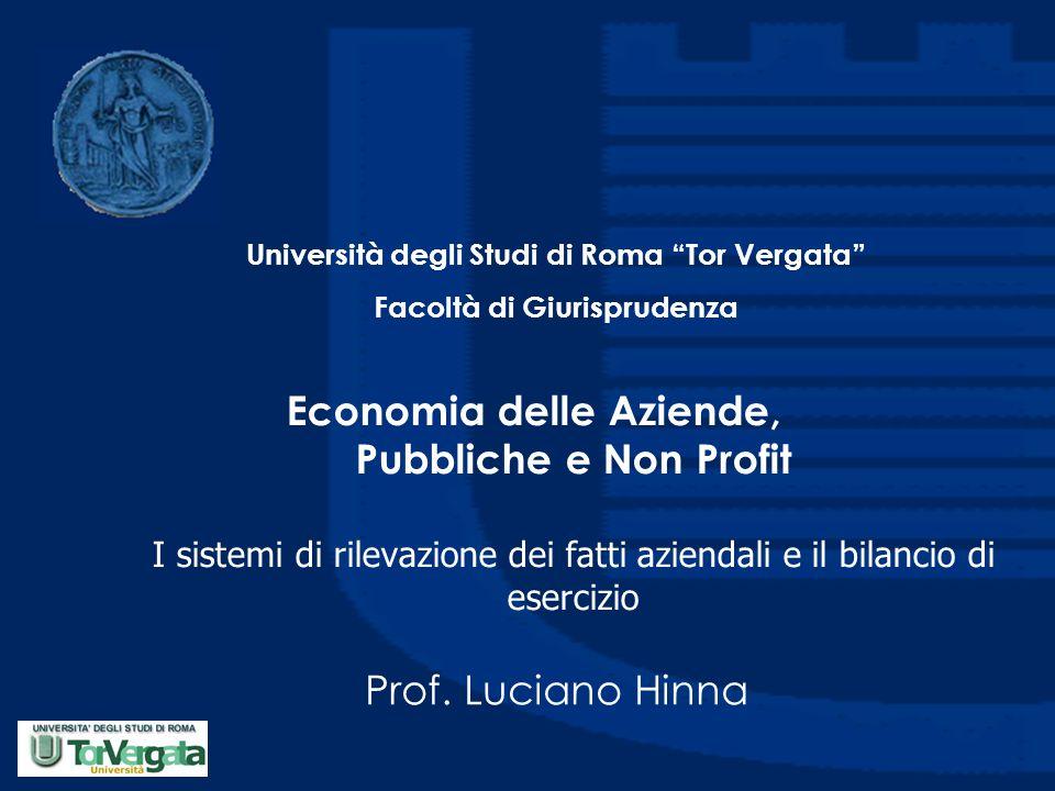 Economia delle Aziende, Pubbliche e Non Profit I sistemi di rilevazione dei fatti aziendali e il bilancio di esercizio Prof. Luciano Hinna Università