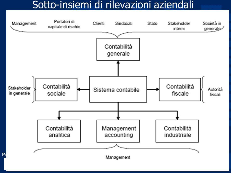 Prof. Luciano Hinna 10 Sotto-insiemi di rilevazioni aziendali