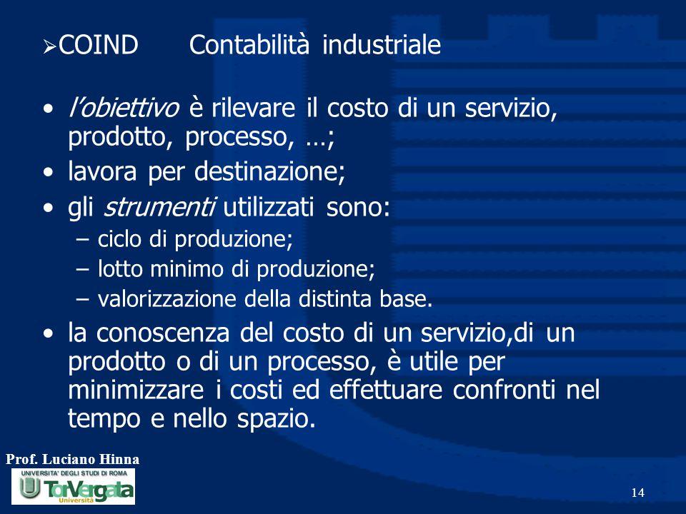 Prof. Luciano Hinna 14  COIND Contabilità industriale l'obiettivo è rilevare il costo di un servizio, prodotto, processo, …; lavora per destinazione;