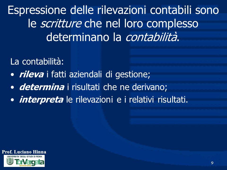 Prof. Luciano Hinna 9 Espressione delle rilevazioni contabili sono le scritture che nel loro complesso determinano la contabilità. La contabilità: ril