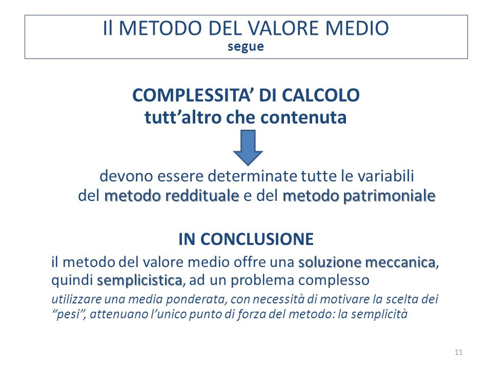 11 COMPLESSITA' DI CALCOLO tutt'altro che contenuta devono essere determinate tutte le variabili metodo reddituale metodo patrimoniale del metodo redd