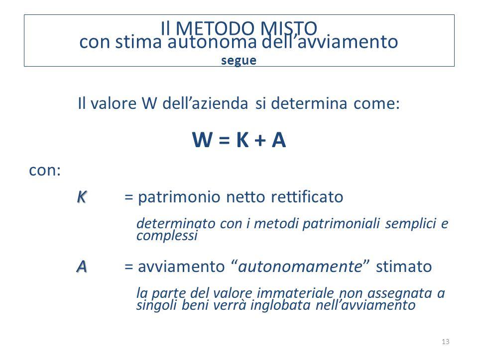 Il METODO MISTO con stima autonoma dell'avviamento segue 13 Il valore W dell'azienda si determina come: W = K + A con: K K = patrimonio netto rettific