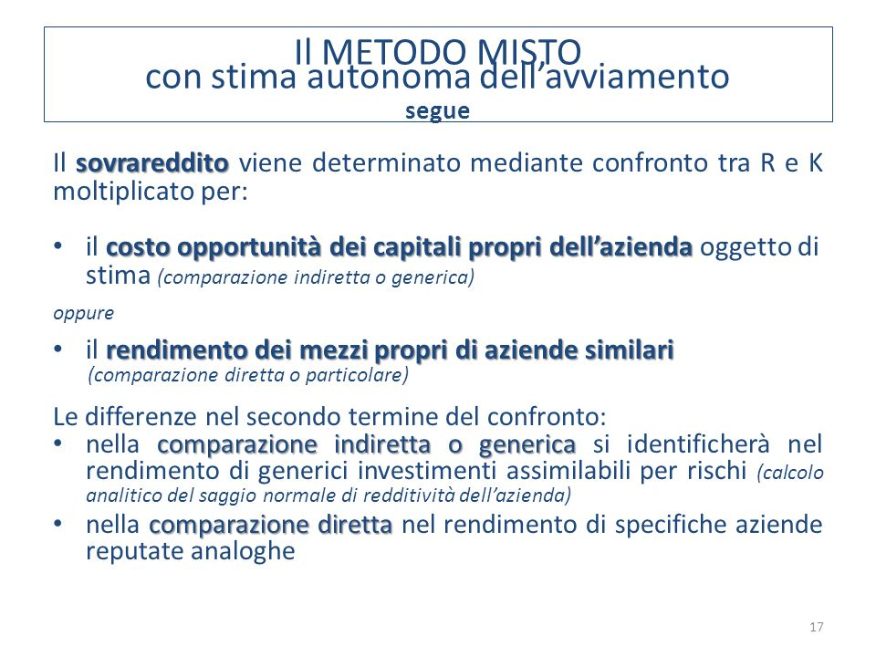 17 sovrareddito Il sovrareddito viene determinato mediante confronto tra R e K moltiplicato per: costo opportunità dei capitali propri dell'azienda il