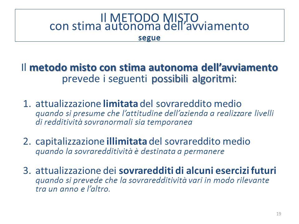 19 metodo misto con stima autonoma dell'avviamento possibili algoritmi Il metodo misto con stima autonoma dell'avviamento prevede i seguenti possibili