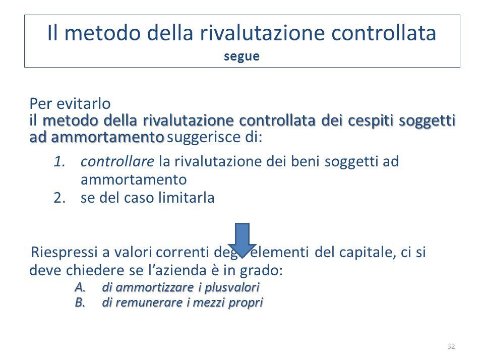 32 Per evitarlo metodo della rivalutazione controllata dei cespiti soggetti ad ammortamento il metodo della rivalutazione controllata dei cespiti sogg