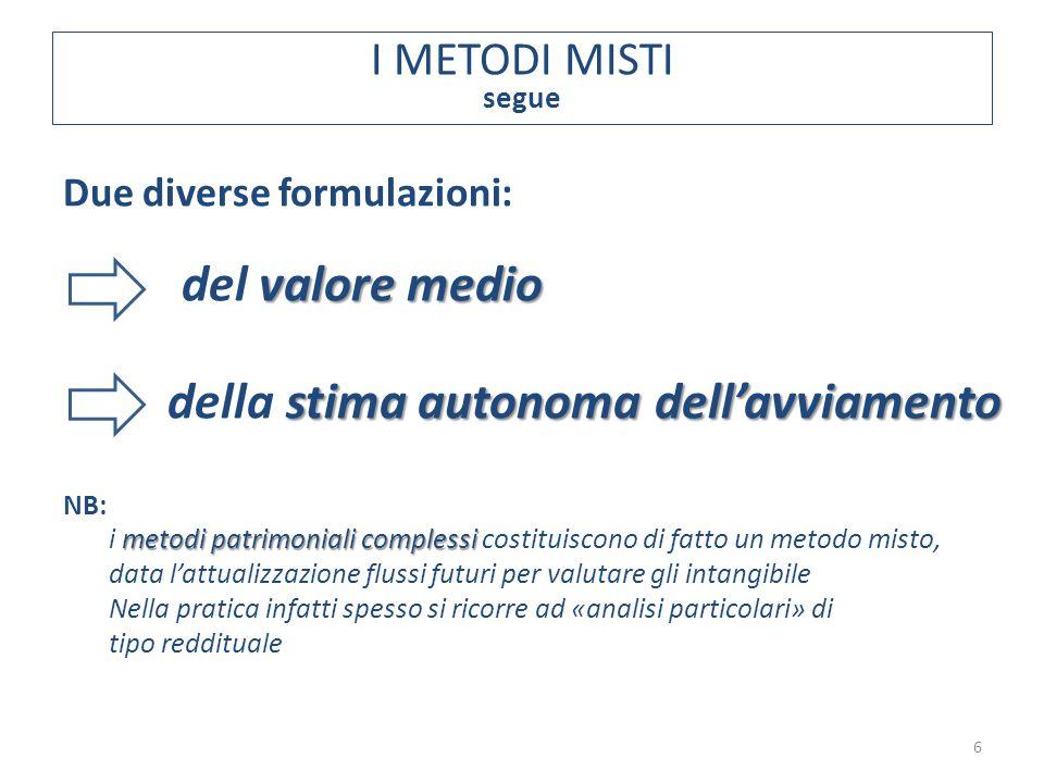Due diverse formulazioni: valore medio del valore medio stima autonoma dell'avviamento della stima autonoma dell'avviamento NB: metodi patrimoniali co