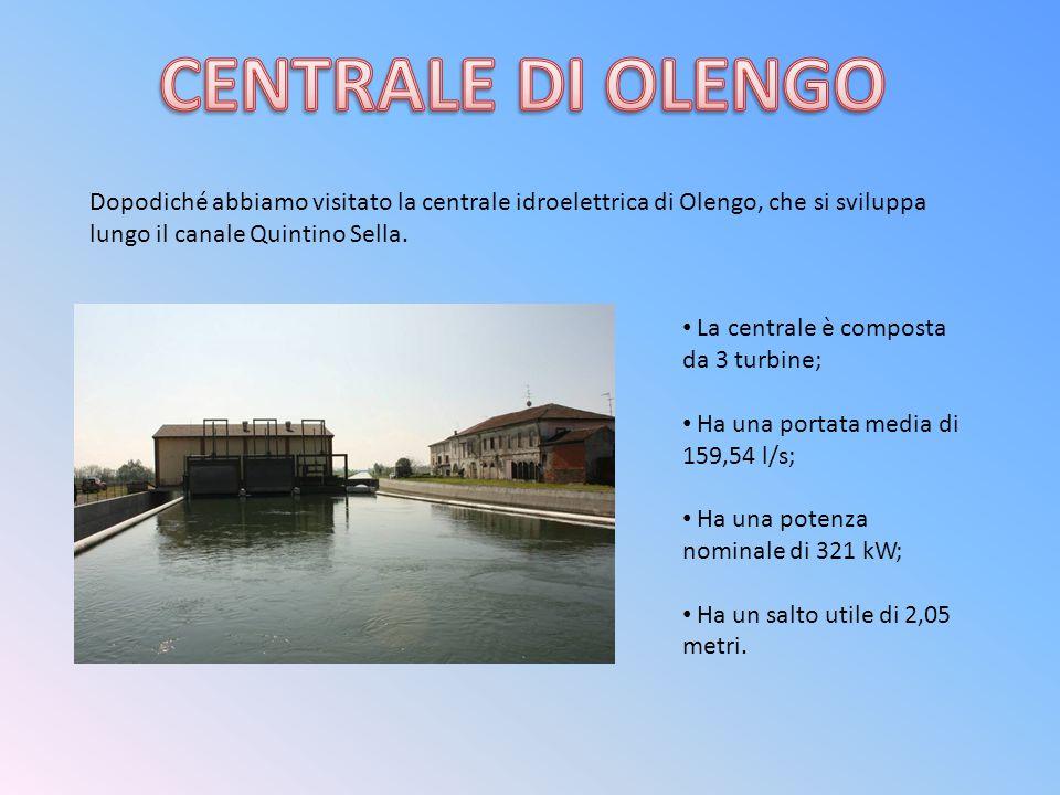 Dopodiché abbiamo visitato la centrale idroelettrica di Olengo, che si sviluppa lungo il canale Quintino Sella. La centrale è composta da 3 turbine; H
