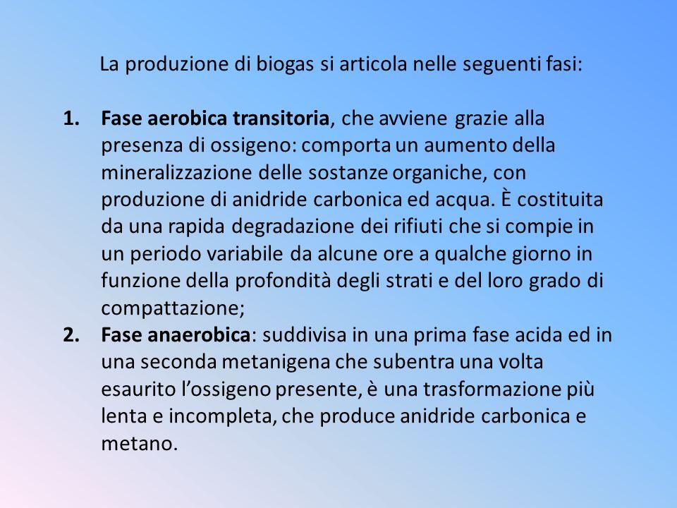 La produzione di biogas si articola nelle seguenti fasi: 1.Fase aerobica transitoria, che avviene grazie alla presenza di ossigeno: comporta un aument