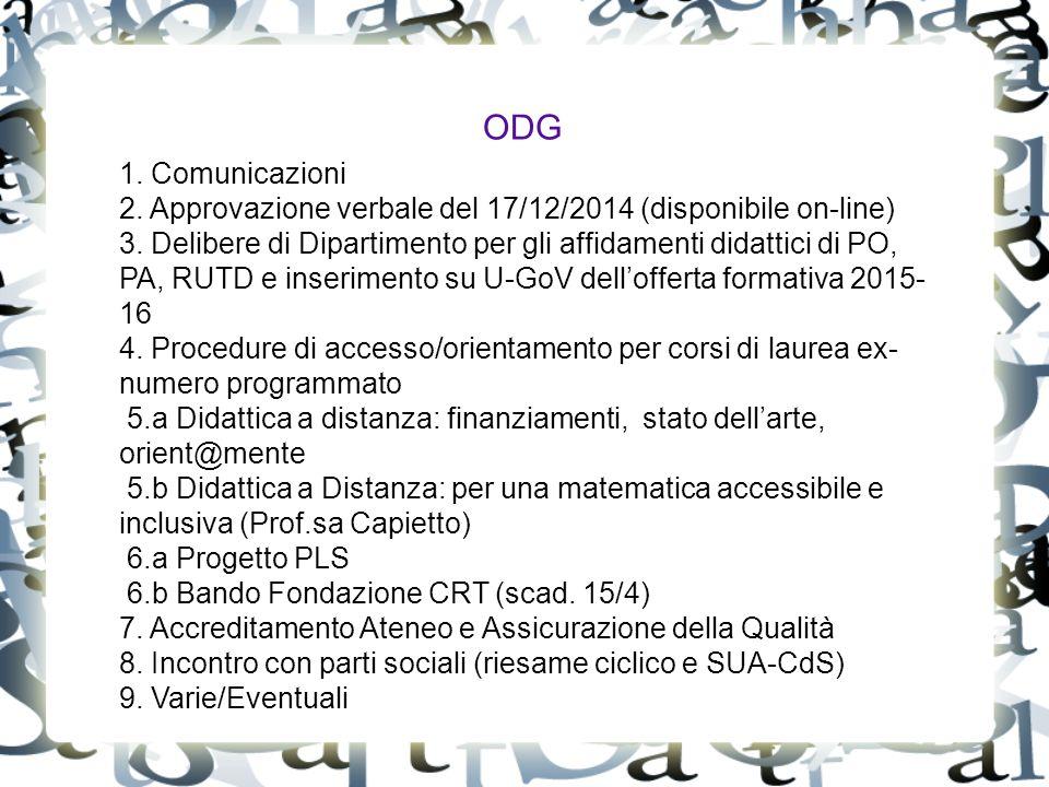 ODG 1. Comunicazioni 2. Approvazione verbale del 17/12/2014 (disponibile on-line) 3.