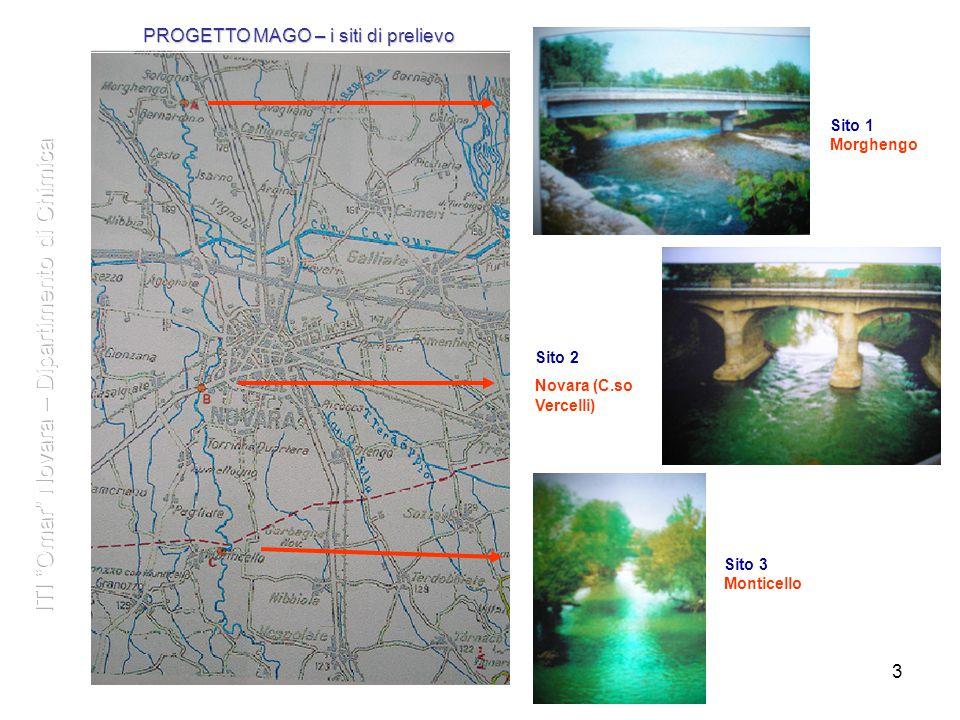 3 3 Sito 1 Morghengo Sito 3 Monticello Sito 2 Novara (C.so Vercelli) PROGETTO MAGO – i siti di prelievo